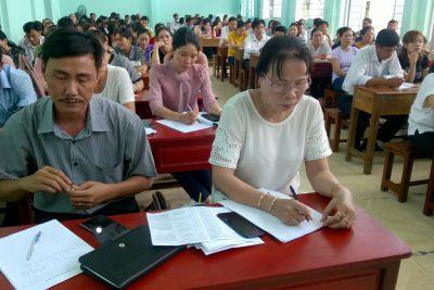 Hình ảnh lớp bồi dưỡng, tập huấn chính trị hè năm 2019 tại trường THCS Thị Trấn